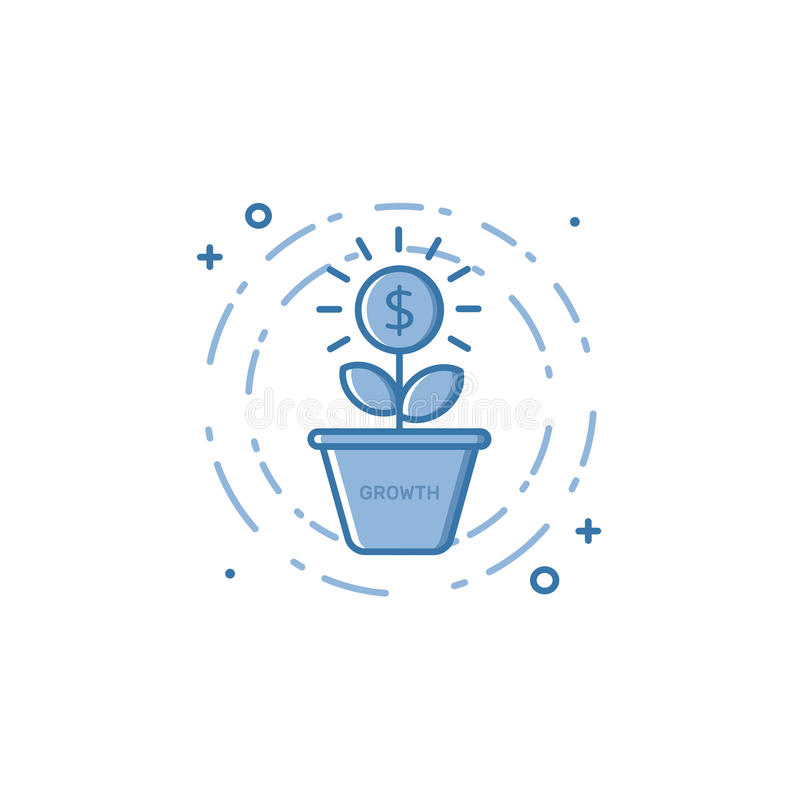 Vector illustration of filled bold outline coin plant growing out of the pot icon. Graphic design concept of economy, money growth, investment . Blue flat line vector illustration