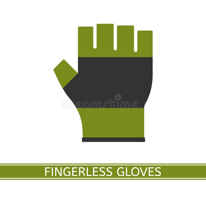 Fingerless Glove Isolated. Vector illustration of fingerless glove isolated on white background. Half finger gloves in flat style. Fishing, hiking and sport royalty free illustration