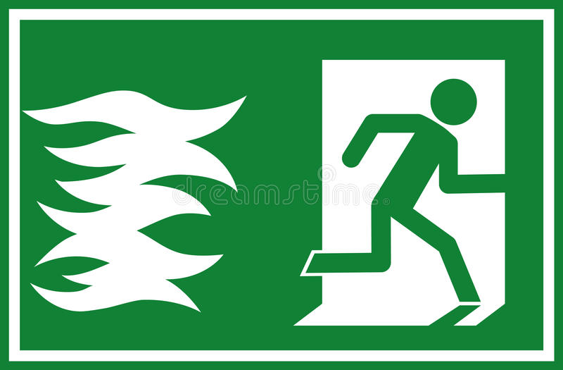 Vector illustration - fire emergency exit sign, person escaping flames through a door royalty free illustration