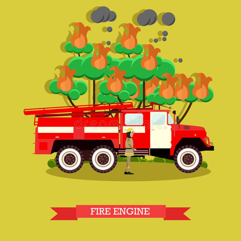 Vector illustration of fire engine in flat style. royalty free illustration