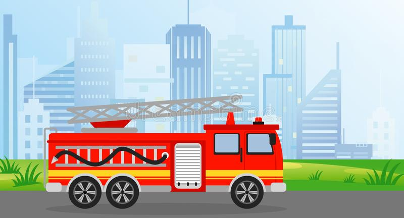 Vector illustration fire truck in flat style on modern city view background. vector illustration