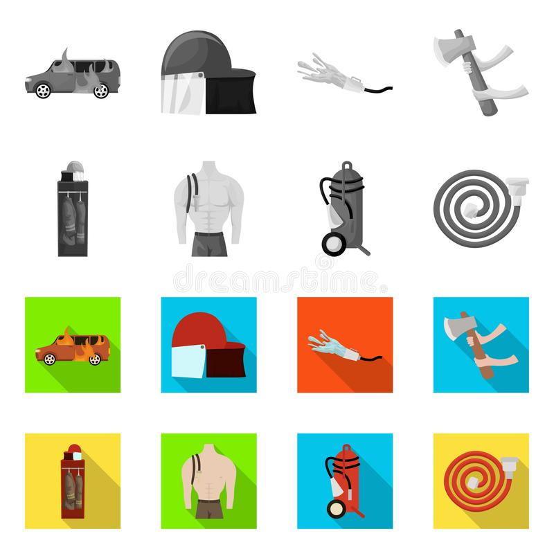 Vector design of firefighters and fire icon. Collection of firefighters and equipment vector icon for stock. Vector illustration of firefighters and fire symbol royalty free illustration