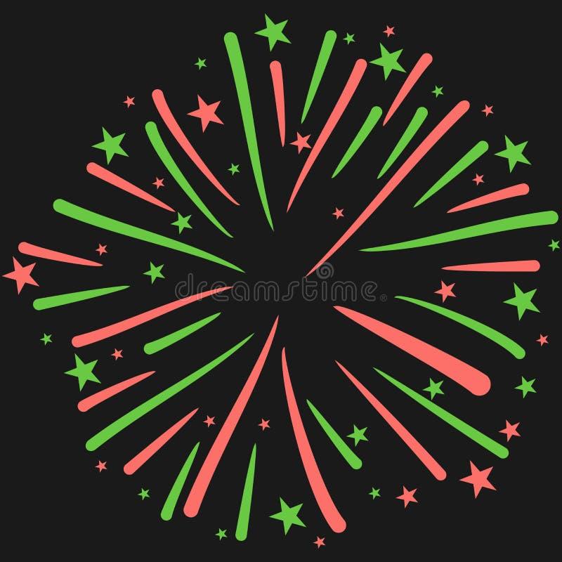 Vector Illustration of Firework on Black Background. vector illustration