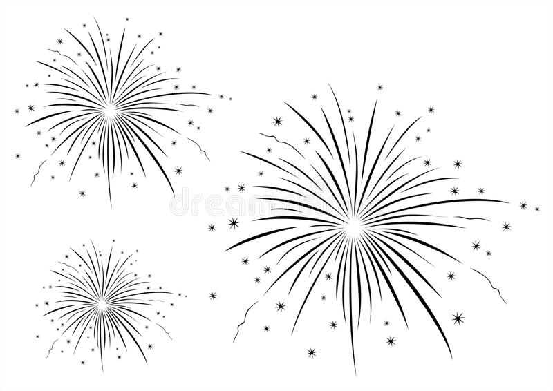 Vector Illustration Of Fireworks Black And White Stock