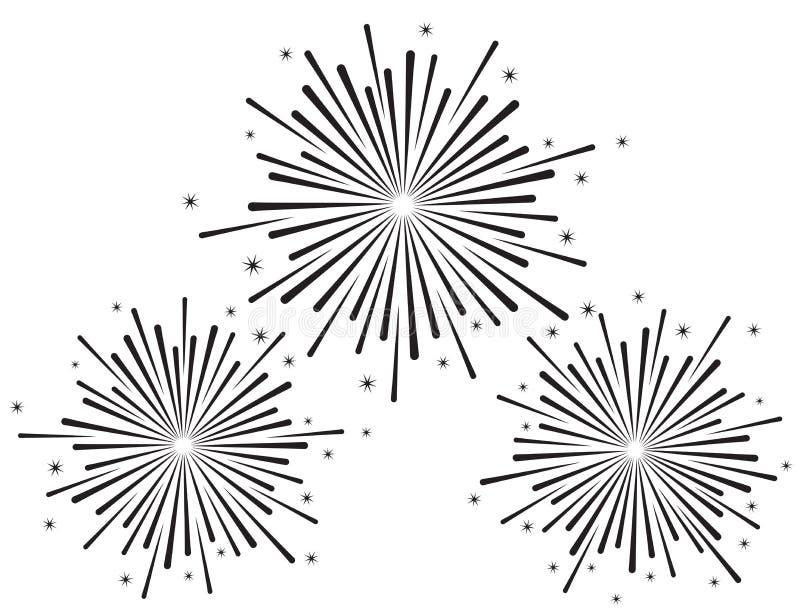 Vector illustration of fireworks set in black color stock illustration
