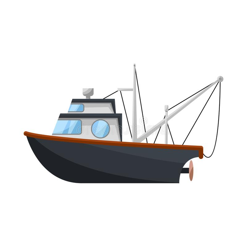 Vector illustration of fishery and trawler logo. Set of fishery and tug stock vector illustration. Isolated object of fishery and trawler icon. Collection of vector illustration