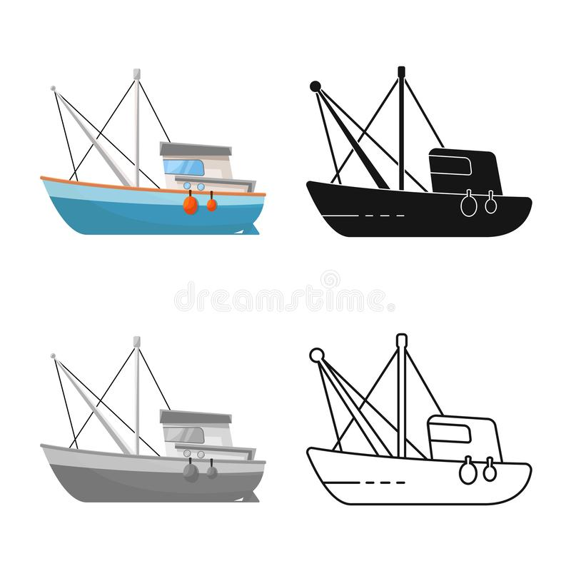 Vector design of fishery and trawler icon. Set of fishery and tug stock vector illustration. Vector illustration of fishery and trawler symbol. Collection of stock illustration