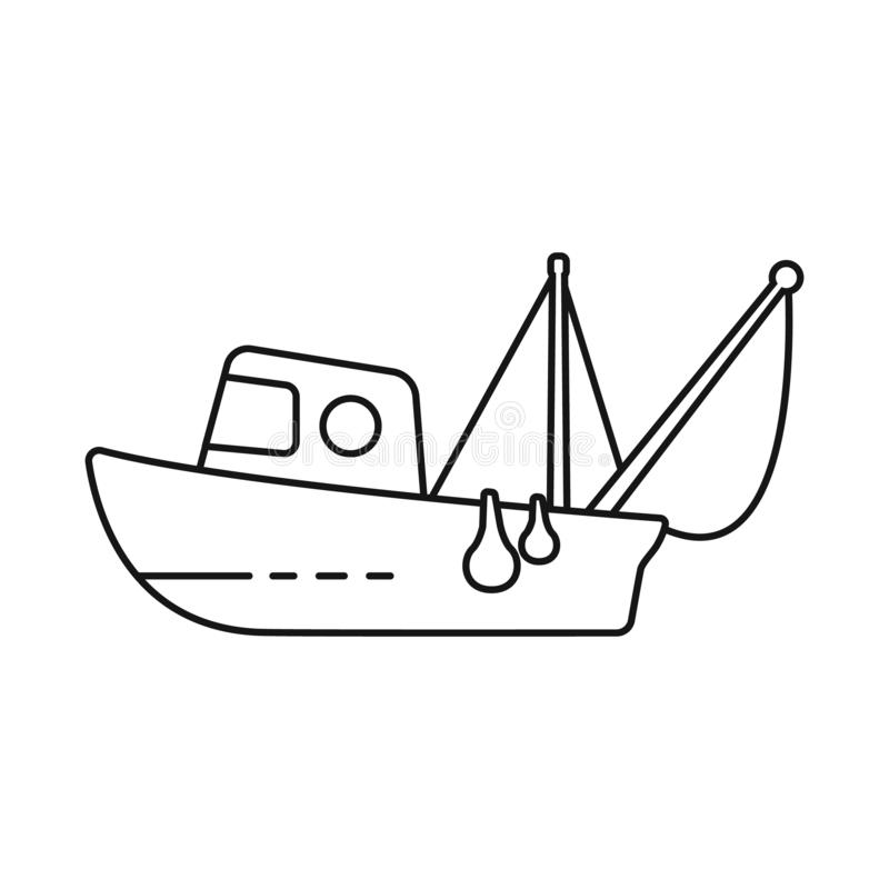 Vector illustration of fishery and trawler symbol. Set of fishery and naval stock vector illustration. Isolated object of fishery and trawler sign. Collection vector illustration