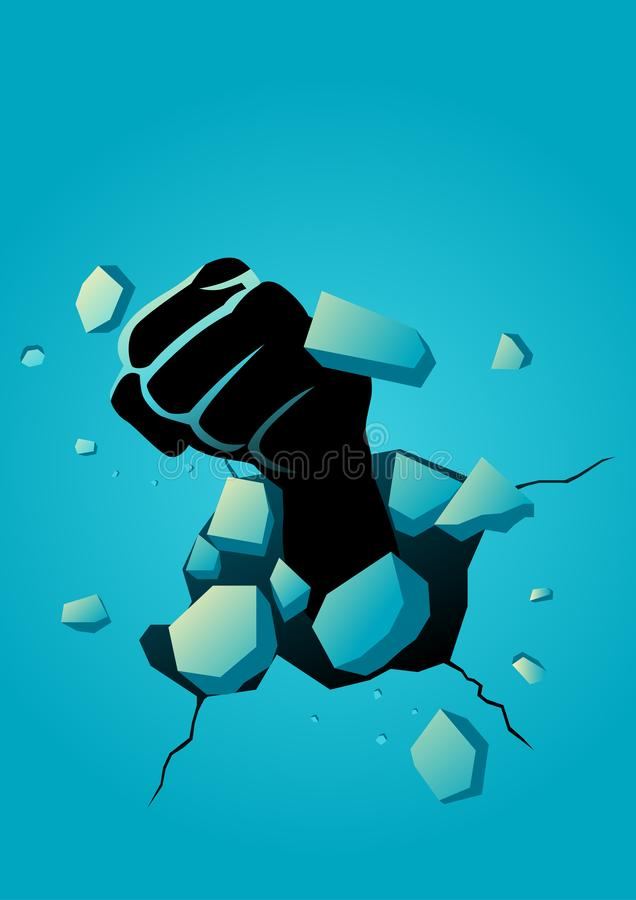Breaking the wall vector illustration