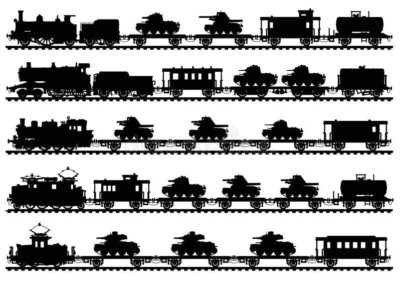 The vintage military trains stock illustration