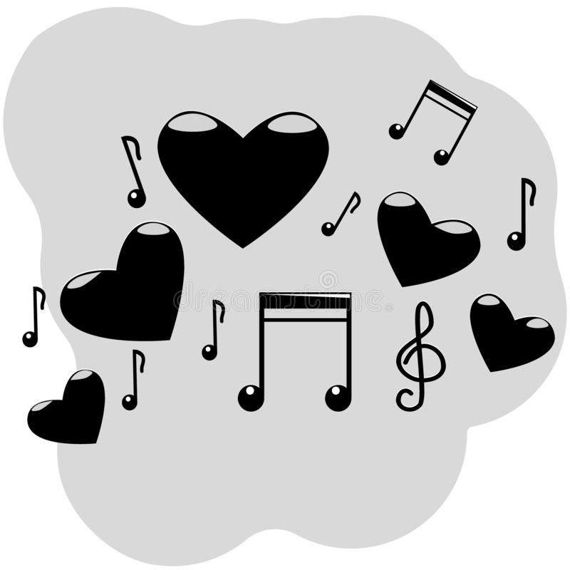 Vector illustration of five hearts with musical symbols, notes, treble clef of black color with highlights on a gray background stock illustration