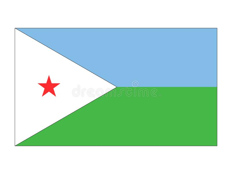 Flag of Djibouti. Vector illustration of the Flag of Djibouti royalty free illustration