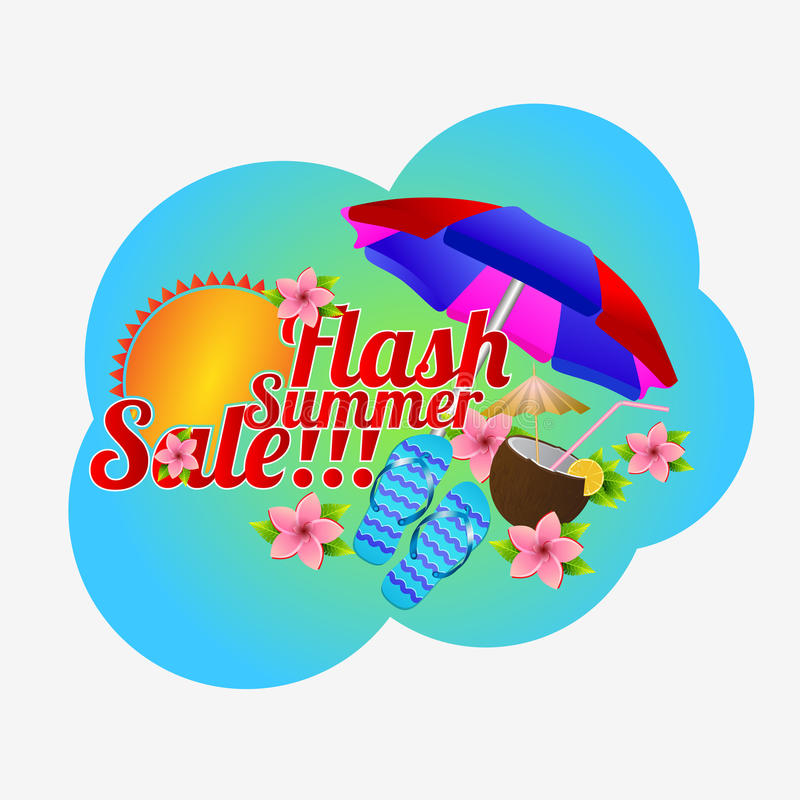 Vector illustration Flash summer sale. royalty free illustration