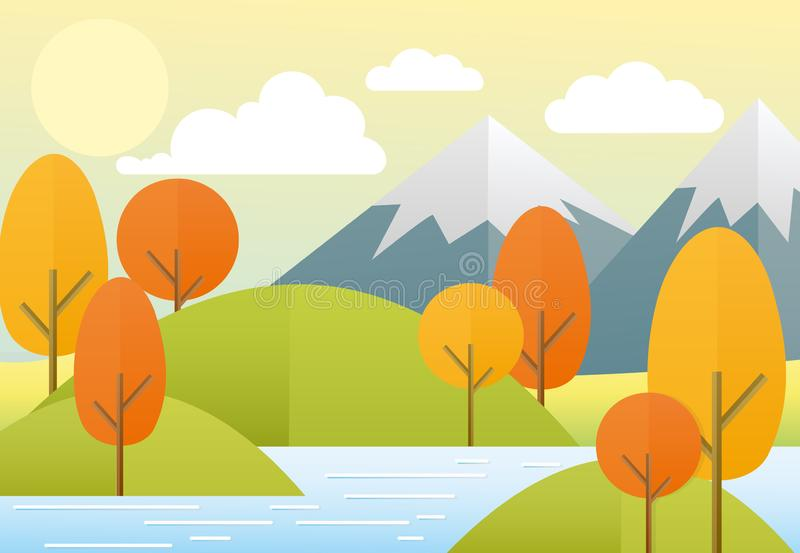 Vector illustration flat autumn nature landscape. Colorful nature, mountains, lake, sun, trees, clouds. Autumn view in. Trendy flat cartoon style stock illustration