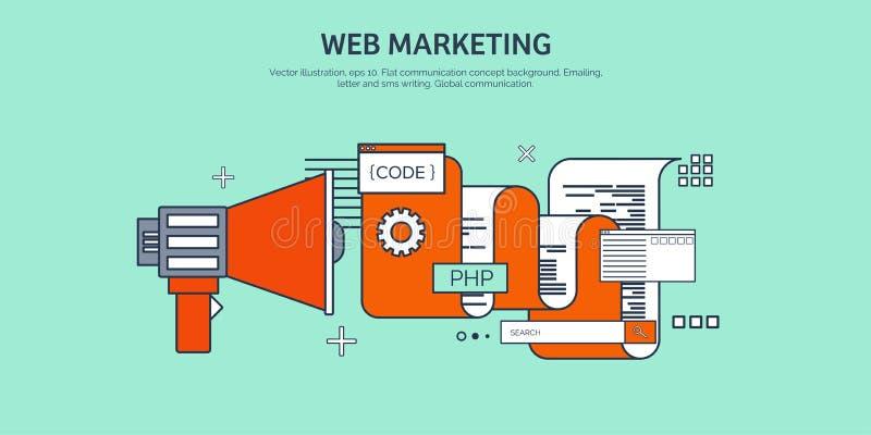 Vector illustration. Flat background. Coding, programming. SEO. Search engine optimization. App development, creation vector illustration