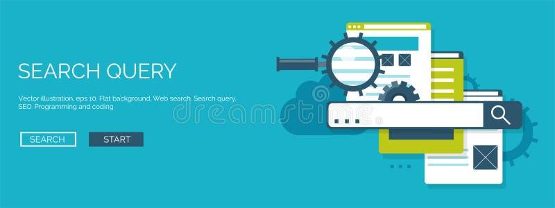 Vector illustration. Flat background. Coding, programming. SEO. Search engine optimization. App development, creation stock illustration