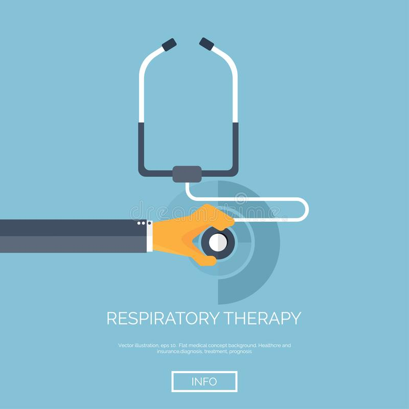 Vector illustration. Flat background with hand and stethoscope. First aid, diagnostic. Respiratory infection. royalty free illustration