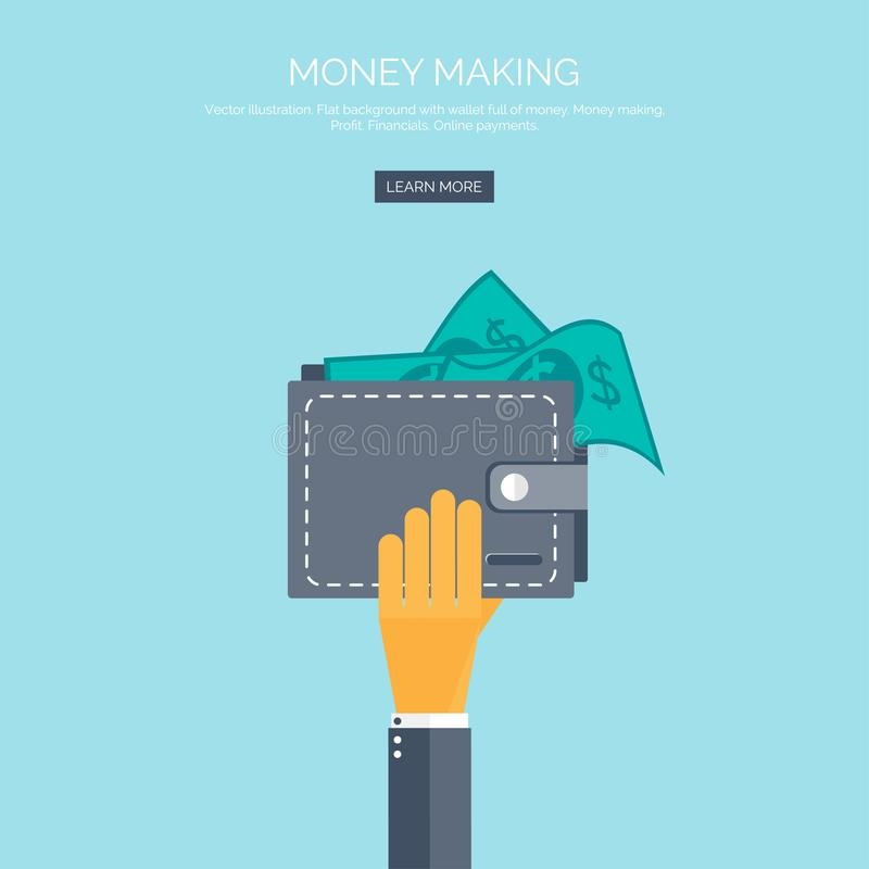 Vector illustration. Flat background with hand and wallet full of money. Online shopping. Pay per click. Money making. Vector illustration. Flat background with royalty free illustration