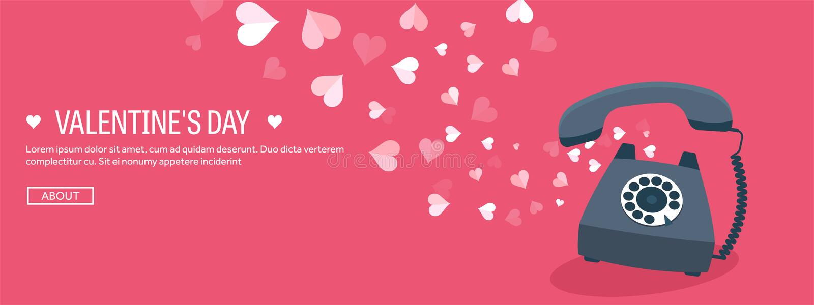Vector illustration. Flat background with retro telephone. Love and hearts. Valentines day. Be my valentine. 14 february stock illustration