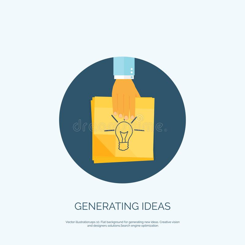 Vector illustration. Flat background with, sticky notes. Smart ideas, business solutions. Vector illustration. Flat background with, sticky notes. Smart ideas royalty free illustration