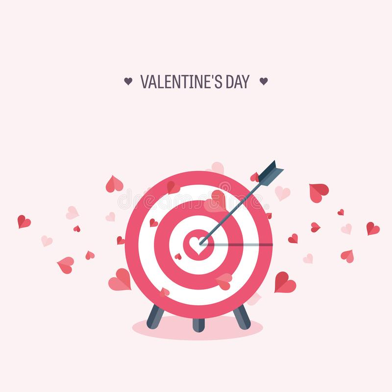 Vector illustration. Flat background with target. Love and hearts. Valentines day. Be my valentine. 14 february. stock illustration