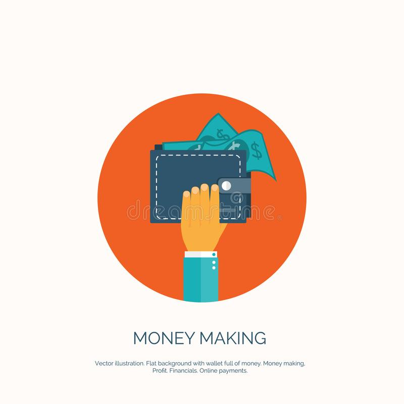 Vector illustration. Flat background, wallet full of money. Online shopping. Pay per click. Money making. Vector illustration. Flat background, wallet full of royalty free illustration