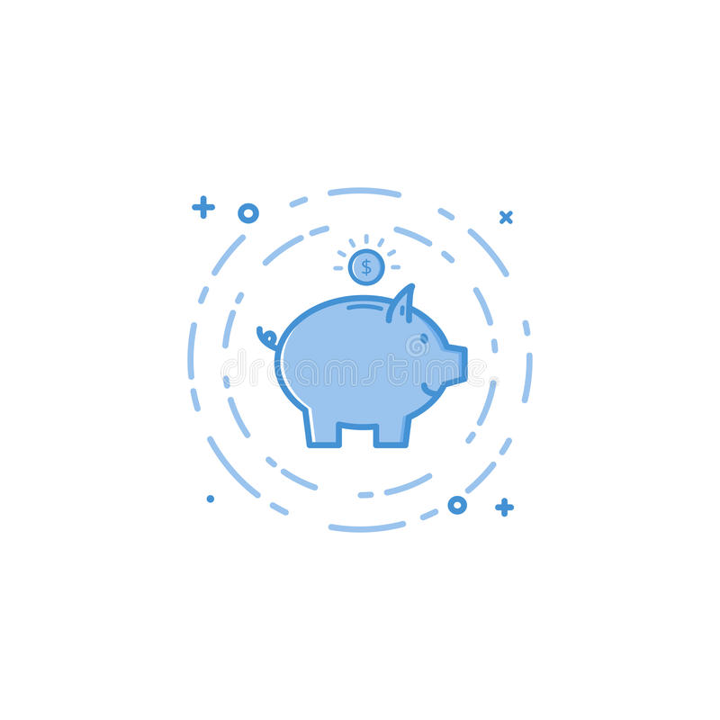 Vector illustration of flat bold line pig and coin icon. royalty free illustration