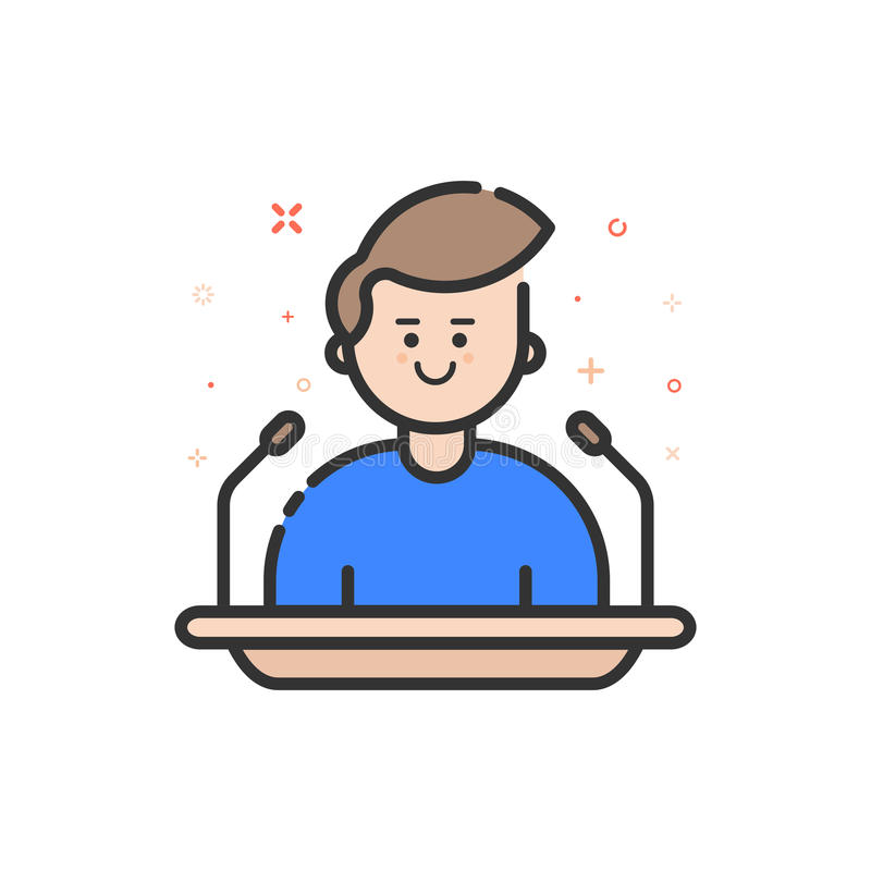 Vector illustration in flat bold outline style with boy - orator speaking from tribune. vector illustration