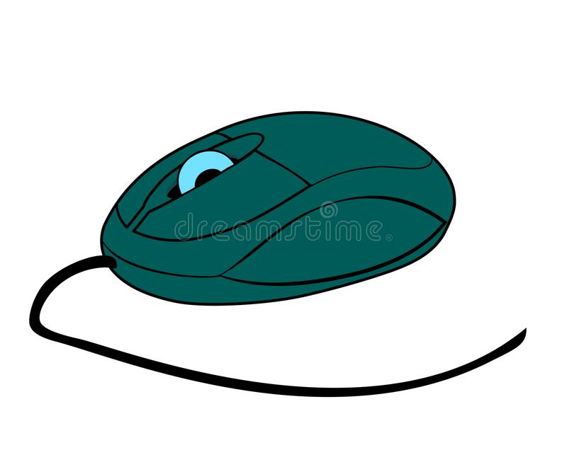 Vector illustration of pc mouse. Vector illustration, flat cartoon gray computer mouse with a wheel isolated on white background royalty free illustration