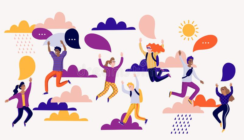 Vector illustration in flat cartoon style with group of young laughing people jumping with raised hands and speech bubbles. EPS 10 illustration in flat cartoon stock illustration