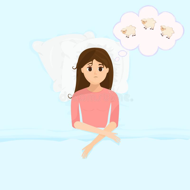Vector illustration in flat cartoon style with sad sleepless woman in bed counts sheeps. Female insomniac trying to fall asleep. Problem of sleeplessness vector illustration
