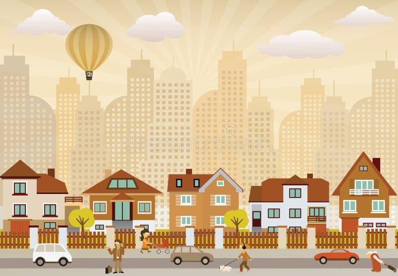 Download Flat City Life (retro Colors) Stock Illustration - Image: 29809398