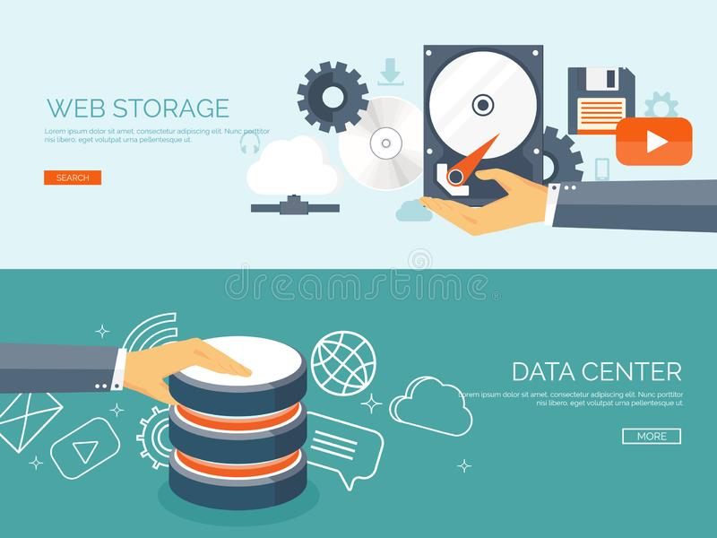 Vector illustration. Flat cloud computing background. Data storage network technology. Multimedia content, web sites stock illustration