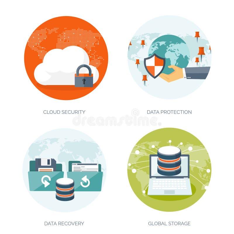Vector illustration. Flat cloud computing background. Data storage network technology. Multimedia content, web sites vector illustration