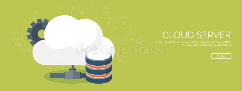 Vector illustration. Flat cloud computing background. Data storage network technology. Multimedia content, web sites royalty free illustration