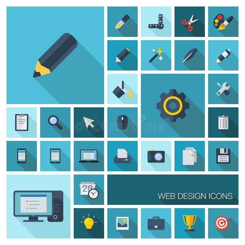 Vector illustration of flat color icons with long shadow. Graphic tools for interface design. vector illustration
