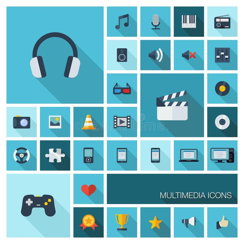 Vector illustration of flat color icons with long shadow for multimedia and technology vector illustration
