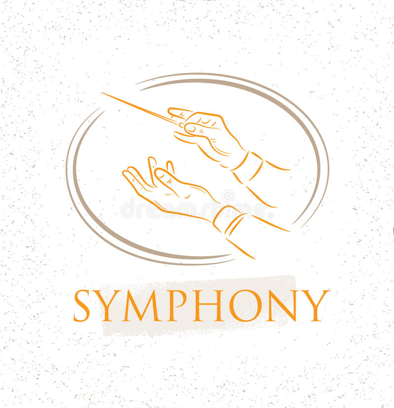 Vector illustration of flat conductor orchestra hands. Colorful chorus conductor concept for your design. Vector illustration of flat conductor orchestra hands royalty free illustration