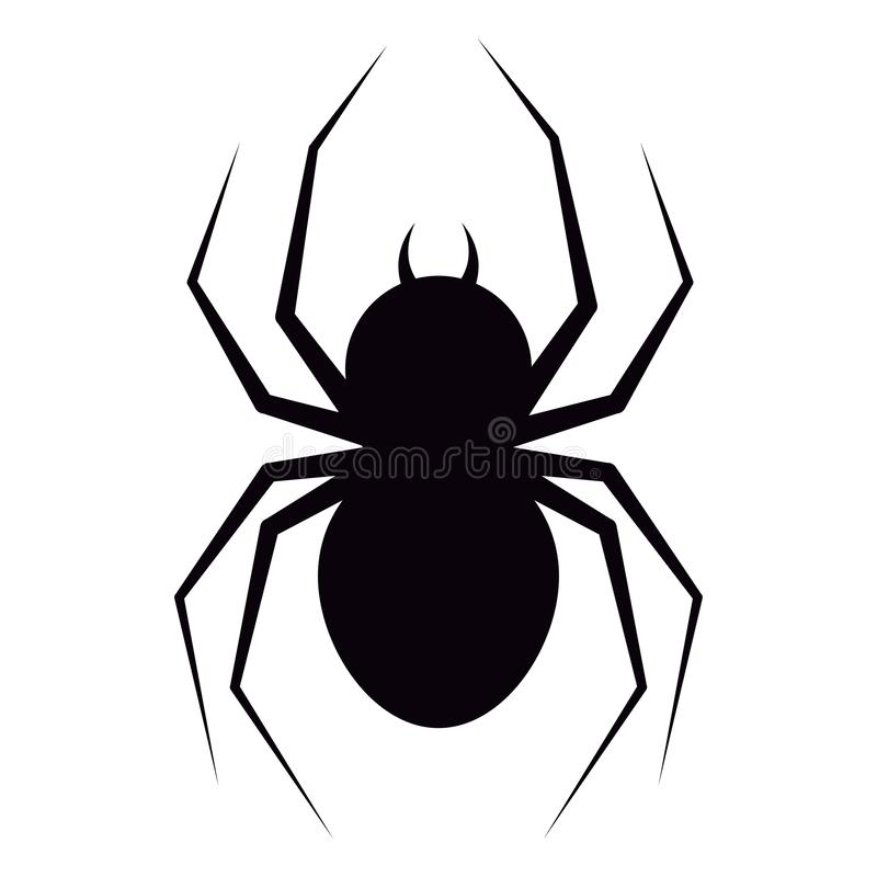 Vector illustration of flat design black spider with fangs silhouette icon isolated on white background. vector illustration