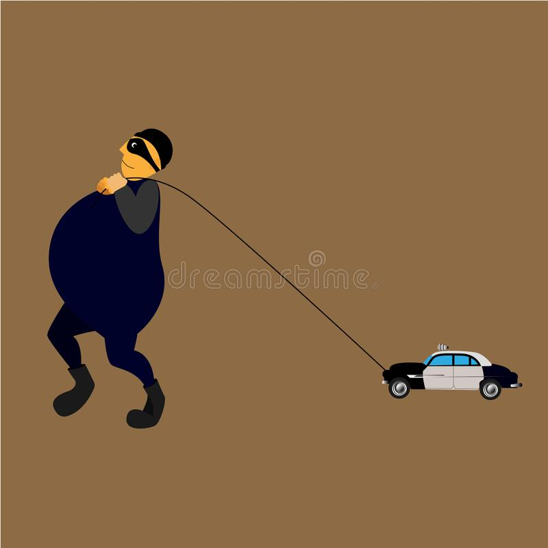 Vector illustration robber from a toy car royalty free illustration