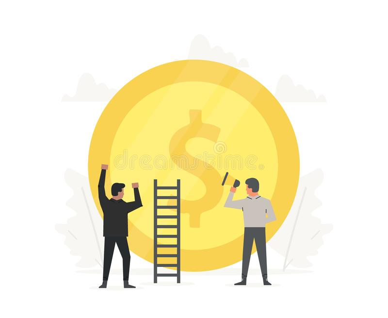 Business illustration people are building a gold coin. Innovation technology start up. Success, champion, victory, money stock illustration