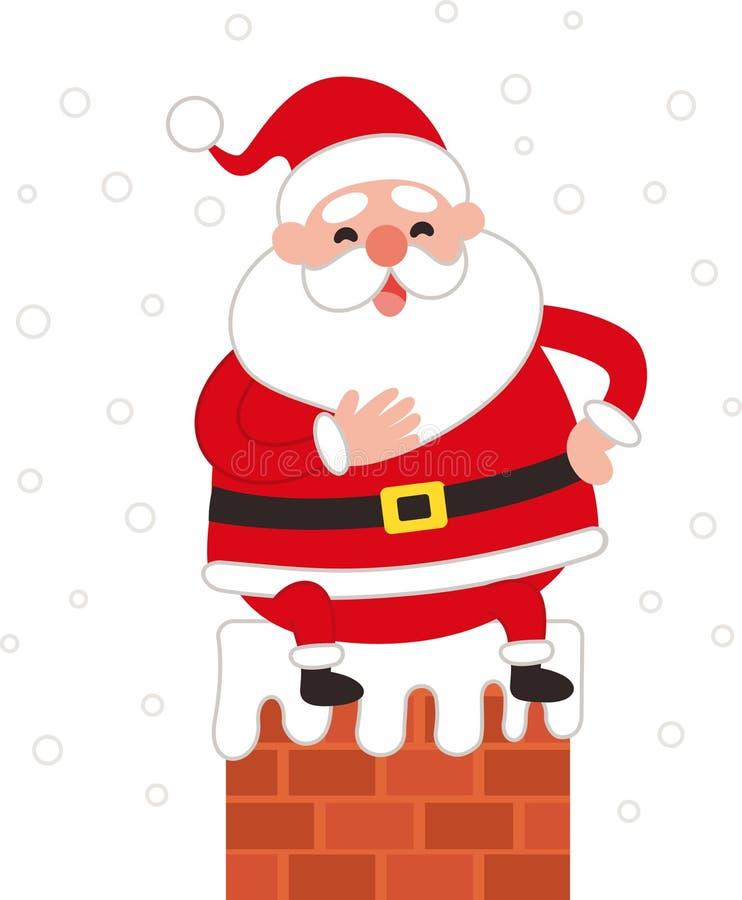 Cute Santa claus sitting on a chimney. stock illustration