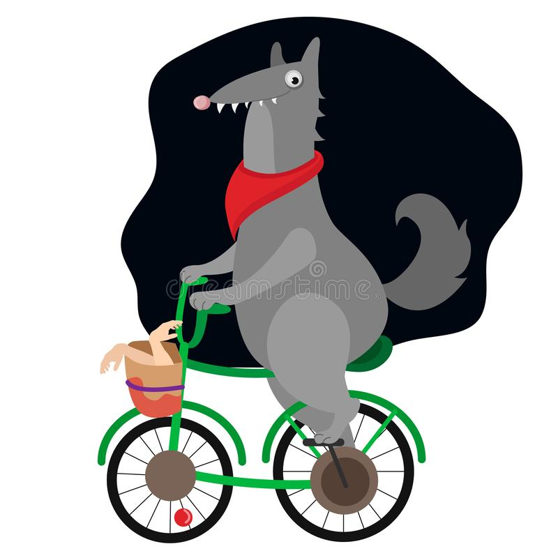 Vector art nature wolf animals bicycle fairy tale red cap stock illustration
