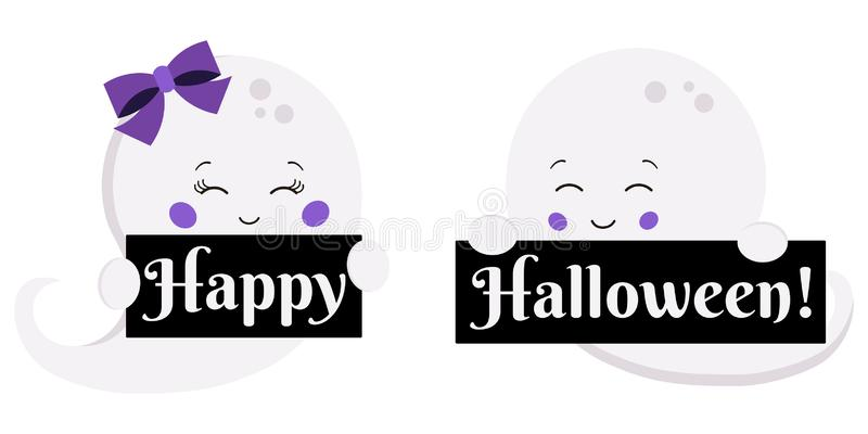 Vector illustration flat design kawaii cute boy and girl ghost with Happy Halloween plates isolated on white background. stock illustration