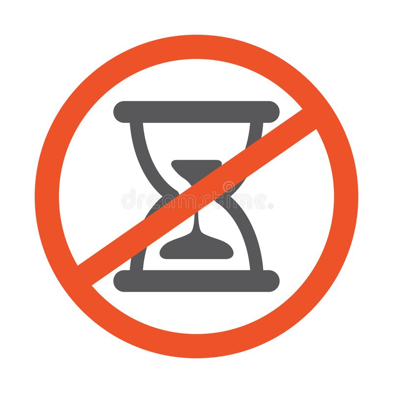 No Hourglass symbol design illustration. Forbidden sign with sand clock icon isolated on white background. Red line vector illustration