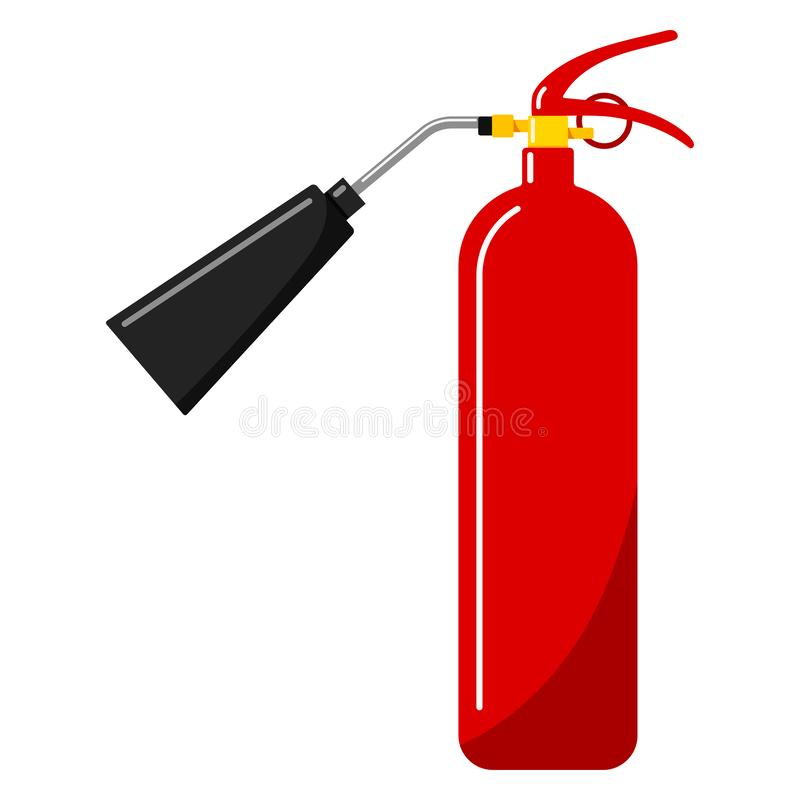 Vector illustration of flat design red fire extinguisher with nozzle icon in cartoon style. Single silhouette portable fire equipment sign isolated on white royalty free illustration