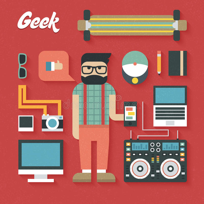 Vector illustration: Flat Icons Set of Trendy Geek Items royalty free illustration