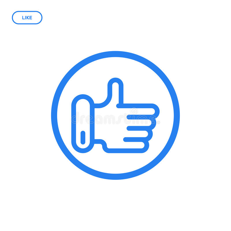 Vector illustration of flat line hand icon. Graphic design concept of like. stock illustration