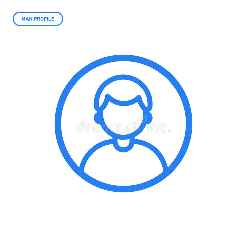 Vector illustration of flat line male icon. Graphic design concept of man profile. Use in Web Project and Applications. Blue outline isolated object royalty free illustration