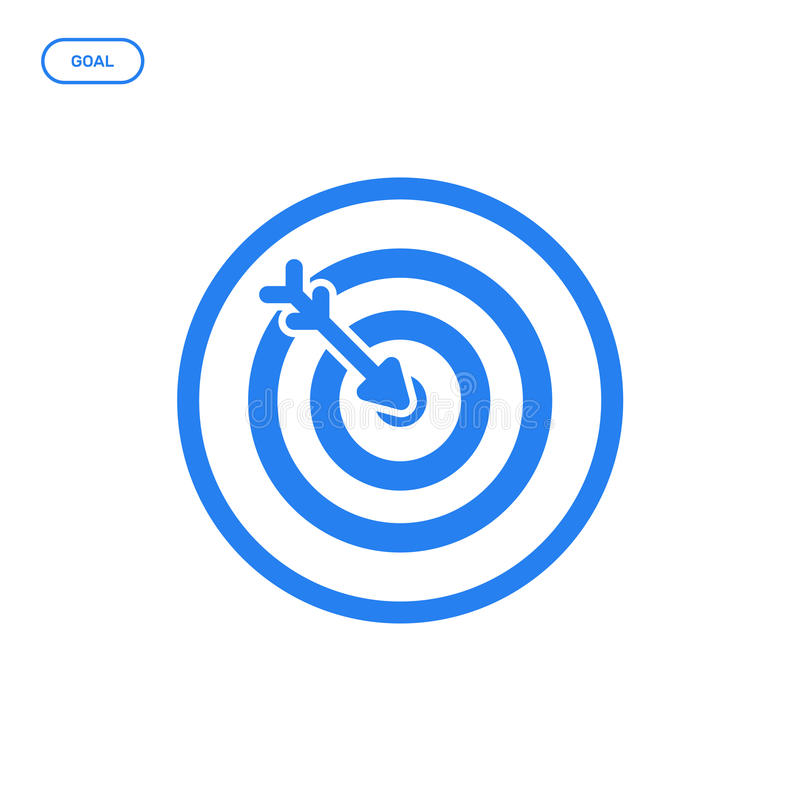Vector illustration of flat line target icon. Graphic design concept of startup success. stock illustration